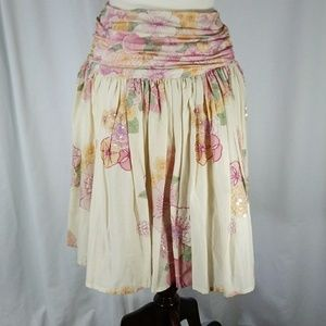 French Connection Floral Dropwaist Skirt Sz Small